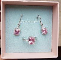 Schmuckset Ring und Ohrringe mit rosa Amethyst Zirkonia 925 Sterling Silber gestempelt / Größe 54