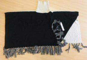 TwinSet Simona Barbieri Poncho en tricot noir-blanc cassé tissu mixte