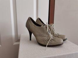 Schnür Schuhe High Heels Schnür Pumps Größe 39 hellgrau