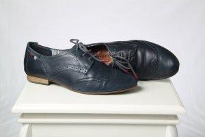 Tamaris Lace Shoes dark blue leather