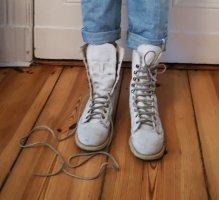 Botas con cordones blanco-gris claro