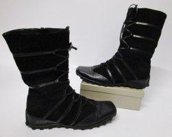 Schnürstiefel Boots Stiefel K&S Shoes Größe 38 Schwarz Flach Futter Winterstiefel Blogger Eckig