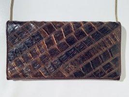 Schöne braune Vintage-Abendtasche aus Krokodilleder