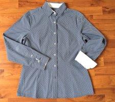 B.M. Long Sleeve Blouse white-dark blue cotton
