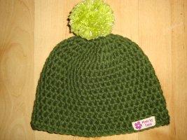 Bonnet en crochet vert prairie-vert forêt coton