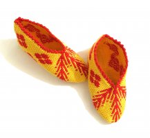 Handarbeit Lunettes jaune primevère-rouge