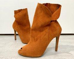Kazar Peep Toe Booties light orange-orange leather