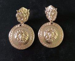 Schöne Ohrringe Löwe in  gold  12K vergoldet 5 cm. Neu