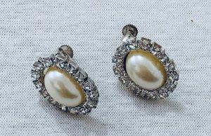 Vintage Oorstekers wit-zilver