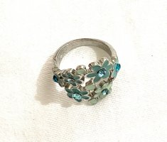 Vintage Srebrny pierścionek Wielokolorowy