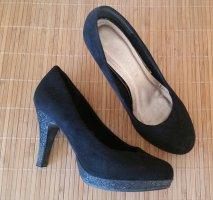 Schöne schwarze Glitzer High Heels / Pumps Gr. 40
