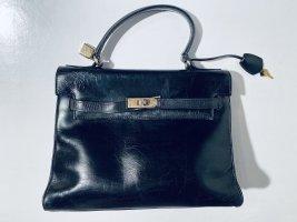 Schöne schwarze Vintage-Lederhandtasche von CVG im Kelly-Stil
