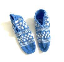Handmade Halsdoek wit-neon blauw