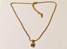 Schöne vergoldete Vintage-Halskette von Nina Ricci mit Logo-Anhänger