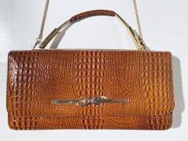 Schöne Vintage-Handtasche aus braunem Kroko-Lackleder