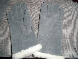 Gloves silver-colored-steel blue suede