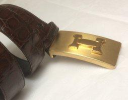 Schöner Damen Leder-Gürtel, Kroko genarbtes Leder, dunkelbraun mit großer Schließe