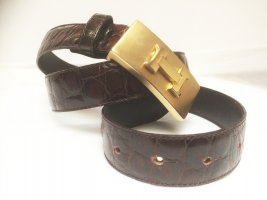 Leather Belt dark brown-gold-colored leather