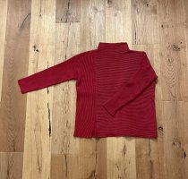 French Connection Turtleneck Sweater dark red-brick red cotton