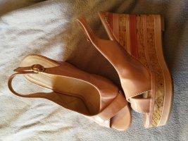 Graceland Zapatos de cuña color rosa dorado