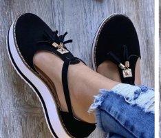 Peep Toe Ballerinas black