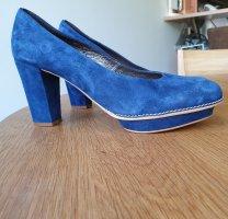 Alba Moda Escarpin à plateforme bleu cuir