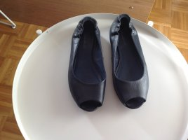 Peep Toe Ballerinas dark blue leather