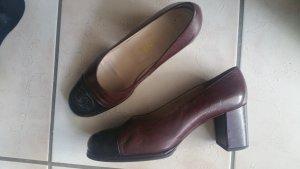 Chanel Plateauzool pumps zwart bruin-bordeaux
