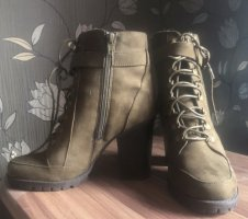 Just Fab Lace-up Booties green grey