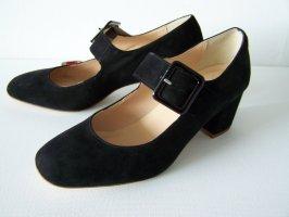 Schuhe in Mary-Jane-Style, Gr. 40, Schwarz, Veloursleder