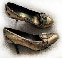 Schuhe, Pumps, Bronzefarben, Metallic, Gr. 38, ZARA