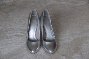 Schuhe  Pumps High Heels silber Leder Gr. 38