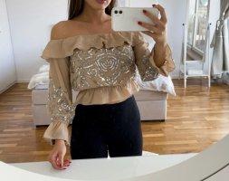 schulterfreie, verzierte Bluse