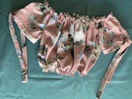 Schulterfreies gerafftes Top rosa
