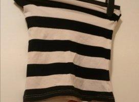 H&M Off the shoulder top wit-zwart