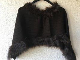 MBJ Poncho in maglia marrone scuro