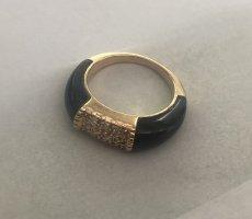 Schwarz 585er Gelbgold 0.1 Karat Ring mit Zertifikat