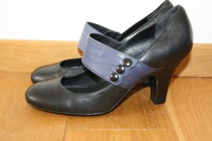 Schwarz-Blaue Lederschuhe aus London Topshop