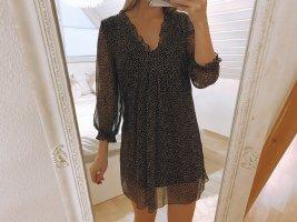 Schwarz Braun gepunktetes Kleid   Zara