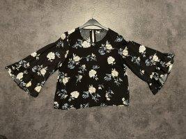 Schwarz geblümte Bluse mit Flatterärmeln