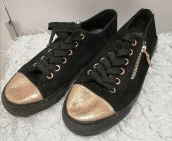 Schwarz goldene Canvas Sneaker Größe 38
