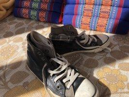 Schwarz Graue Leder Chucks, Gr. 37,5, gebraucht aber selten;)