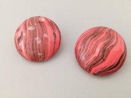 schwarz-pinke Ohrclips vintage