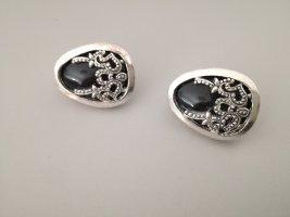 schwarz-silberne Ohrclips vintage