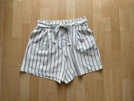 Schwarz weiß gestreifte kurze Stoffhose Shorts M 38-40 mit Hosentaschen und Band KTN y2k