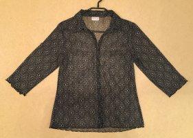 schwarz-weiße Bluse mit Kragen und Knöpfen, leicht durchsichtig, 3/4 ärmlig, Gr. 46