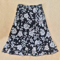 schwarz-weißer Rock mit Blumenmuster, wadenlang, Gr. 38