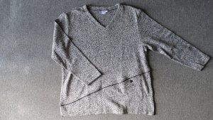 Schwarz-weißmelierter Pullover 42/44
