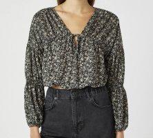 Schwarze Bluse mit Blumenprint