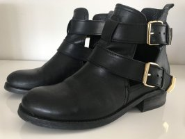 Sacha Cut Out Booties black-gold-colored